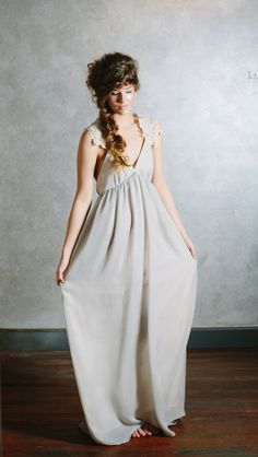 Gray Wedding Dress in Pale Gray Chiffon with Alencon Lace Accents - Everlasting Gown.  via Etsy.