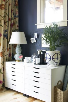 Organizing with the Ikea Alex Drawers - Navy Blue Office - The Inspired Room