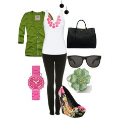 Black, pink & green, created by lndsy0817 on Polyvore