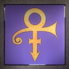 THE ARTIST FORMERLY KNOWN AS PRINCE Love Symbol Ceramic Tile Coaster in Gold Sparkle