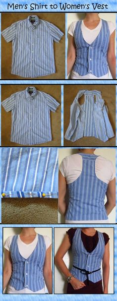 Up Shirt Refashion: A RoundUp! Mens shirt to women's vest.Mens shirt to women's vest. Sweater Refashion, Clothes Refashion, Upcycle Shirts, Thrift Store Refashion, Old Clothes, Sewing Clothes, Clothes Women, Sewing Men, Up Cycle Clothes