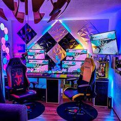 Best Gaming Setup, Gaming Room Setup, Pc Setup, Gamer Bedroom, Bedroom Setup, Computer Gaming Room, Computer Setup, Cute Bedroom Ideas, Room Ideas Bedroom
