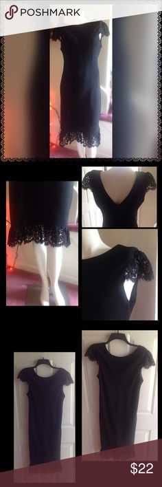 """Black Dress ❤️ Gorgeous black dress with lace on shoulders and hem of dress. V neck in back of dress. Has a liner. Size chart in last photo. Inseam 33"""" gently worn. Evan Picone Dresses"""