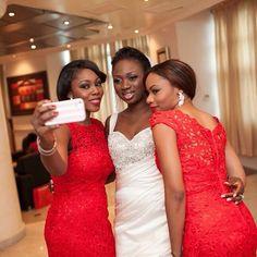 Nigerian wedding RED LACE bridesmaids dresses Libran eye photography