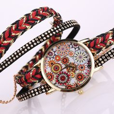 Wrap Watch Velveteen with Waxed Cotton Cord Glass Zinc Alloy Chinese movement gold color plated with rhinestone 2-strand - Milky Way Jewelry
