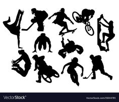 Extreme sports activity silhouettes ...
