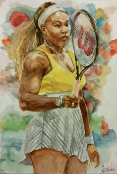 Serena Williams by Bernard Collins www.facebook.com/bernardcollinsjr www.facebook.com/Bernard-Collins-Jr-Visual-and-Spoken-Word-Artist-171309302930476 www.bernardcollinsjr.com  MEDIUM: Watercolor