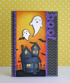 A Halloween card using Lawn Fawn's Happy Haunting & Quinn's ABCs Lawn Cuts by Yainea.