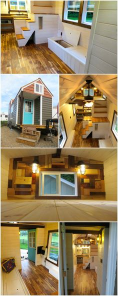 The Robin's Nest is a nice tiny house built by Brevard Tiny House. The tiny house is an 8′ × 24′ and features ornate woodwork, white-washed walls, and a 'twig' post on the front porch. A completed model is approximately $45,000.