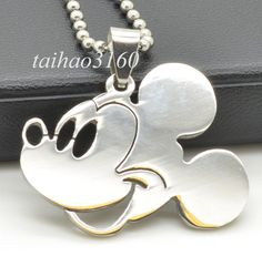 Stainless Steel Silver Mickey Mouse Head Dog Tag Pendant Ball Chain Necklace