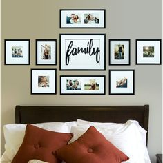 Broderick 8 Piece Family Decor Picture Frame Set - home - Pictures on Wall ideas Family Wall Decor, Room Wall Decor, Living Room Decor, Living Rooms, Family Rooms, Creative Wall Decor, Creative Walls, Family Pictures On Wall, Family Photos