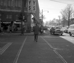 Looking south from the north side of Detroit Ave. along the east side of Warren Rd. Bailey's Department Store is on the southeast corner. ca. 1962 Lakewood Ohio, East Side, Department Store, Car Photos, Old Cars, Cleveland, Detroit, Childhood, Corner