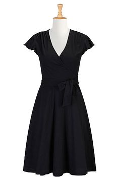 I <3 this Flutter sleeve cotton knit wrap dress from eShakti, everyone needs a little black dress, always in style.