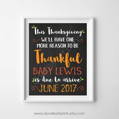 Thanksgiving Pregnancy Announcement Fall Baby by DoodleArtPrints