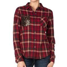 Miss Me Women's Plaid Print Sequin Long Sleeve Flannel Shirt