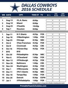 2016-17 Dallas Cowboys Schedule