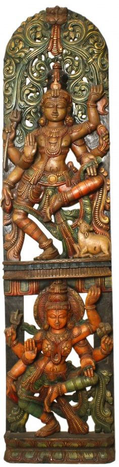 Dancing Shiva Parvati, South Indian Temple Wood Carving  71 inch X 17.5 inch X 4 inch