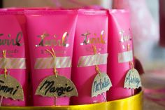 Kate Spade shower gel for a bridal shower favor.  Ebay has so many samples that can be purchased in bulk