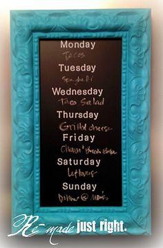 Weekly Menu Chalkboard Frame  Love this!!