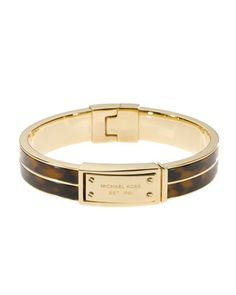 Logo-Plaque Bangle, Tortoise by Michael Kors at Neiman Marcus. $115