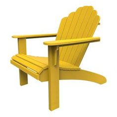 Eco-friendly indoor/outdoor Adirondack chair in yellow. Made in the USA.  Product: Adirondack chairConstruction Material:  Recycled high density polyethylene and stainless steelColor: YellowFeatures:  Color stable UV inhibitorVirtually maintenance freeMade in the USA Dimensions: 37 H x 32 W x 39 DCleaning and Care: This product is UV protected and requires very little maintenance. To clean, use soap and warm water regularly.
