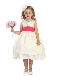 Tip Top 5428 Ivory with Chocolate Sash Size 18 month Flower Girl dress