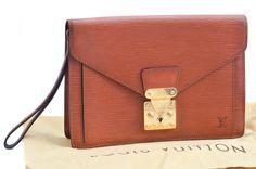 Louis Vuitton Sellier Dragonne Brown Epi Leather Clutch Bag