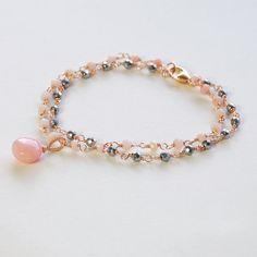 Opal Bracelet. Pink Opal Silver Pyrite Rose Gold Filled por agusha