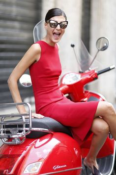 Red Vespa - Love! Can't wait to get my vespa on the road this summer :)