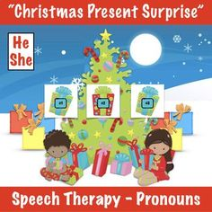 Christmas Present Surprise - Pronouns Teaching Pronouns, Speech Therapy Activities, Teacher Pay Teachers, Christmas Presents, Boy Or Girl, Preschool, Education, Christmas Gifts, Xmas Gifts