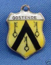 Vintage 800 Silver & Enamel Travel Shield Charm OOSTENDE Belgium
