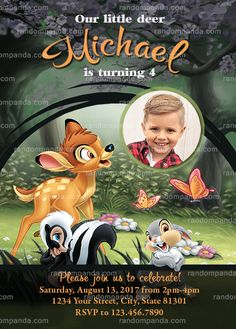 Personalize Bambi and Thumper Invitation, Bambi Deer Birthday Party Invite