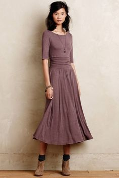 $148 Anthropologie Jersey Midi Dress Brown by Bordeaux Womens sz M New…