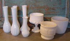 #Collection of 8 #MilkGlass #Vases #Wedding #Centerpieces $54