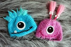 Little Twin Monsters Newborn Baby Hat, Monster Baby Hat, Baby Hat Crochet Monster Hat, Crochet Monsters, Crochet Baby Booties, Crochet Hats, Spiderman, Halloween Crochet, Crochet For Kids, Crochet Children, Newborn Photo Props