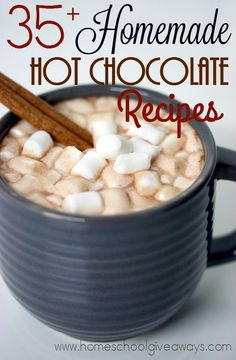 Cooler weather is rolling in around the country and that means - Hot Chocolate! Check out these 35+ Hot Cocoa Recipes with all kinds of delicious add-ins!! :: www.homeschoolgiveaways.com
