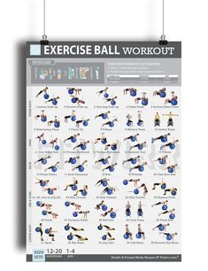 """Fitwirr Exercise Ball Workout for Women """"19X27"""" Swiss Ball Exercises - Total-Body Workout - Home Workout - Stability Ball Exercises - Fitness Ball - Tone Your Legs, Abs, Arms with Ball Exercises."""