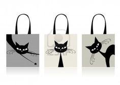Zwarte katten sierlijke, ontwerp van boodschappen tassen Stockfoto