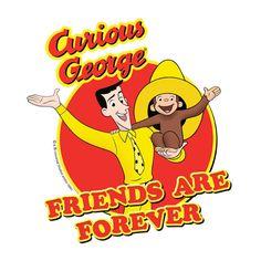 Curious George Youth T shirt Man Yellow Hat Friends cartoon Kids tee UNI661