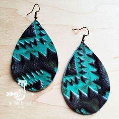 Artisan Jewelry, Handmade Jewelry, Handmade Leather, Aztec Jewelry, Aztec Designs, Boho Accessories, Leather Earrings, Teardrop Earrings, Fashion Jewelry