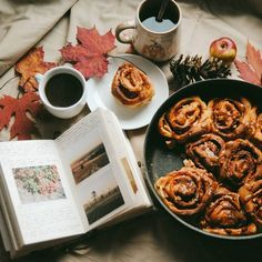 Cinnamon rolls with apples and caramel - the best breakfast on a cold windy morning!
