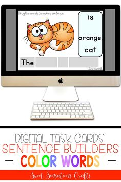Are you looking for sentence building practice for distance learning? These color words sentence building digital task cards are perfect for beginner learners, either in or out of the school setting. The cards are bright and engaging with self-checking audio and visual clues, making them perfect for independent practice and reinforcing word to text. Teaching Activities, Teaching Ideas, Browser Chrome, Sentence Building, Word Sentences, Interactive Whiteboard, High Frequency Words, Teacher Hacks, Google Classroom