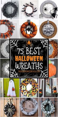 75 Best DIY Halloween Wreaths : 75 Best Halloween Wreaths Try one of these spooktacular DIY halloween wreaths to scare your trick or treaters! These wreaths include bats, spiders, pumpkins, skeletons & Halloween Party Snacks, Theme Halloween, Diy Halloween Decorations, Easy Halloween, Holidays Halloween, Halloween Crafts, Diy Halloween Wreaths, Halloween Parade, Halloween Quotes