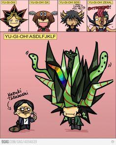 Oh yugioh hair... Yami/yugi: multi colored starfish Jaden: the kuriboh Yusei: the little penguin  And the horrible mistake that is Yuma