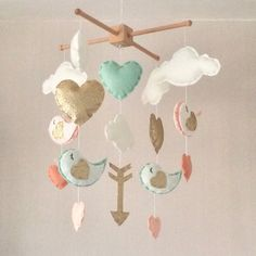 Baby mobile - Baby girl mobile - Cot mobile - Heart mobile - Cloud Mobile - Clouds, hearts and birds and arrow - mint, coral and gold