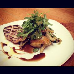 #TGSM Salmon Creek Farm Grilled Pork Chop, Roasted Fennel, Fava Beans, Fingerling Potatoes, Artichokes, Balsamic Jus, Arugula, Balsamic Vinaigrette