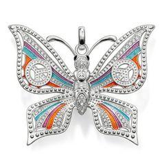 Colgante Thomas Sabo plata, mariposa, símbolo paz, esmalte colores, circonitas blancas - Manuel Joyero