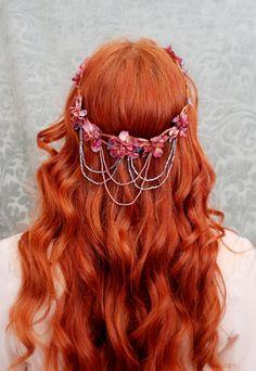 Wreath, bohemian flower crown, medieval circlet, hair accessories - Vanlanthiriel. $74.00, via Etsy.