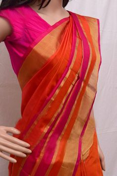 Uppada Orange with pink Color Silk Saree with Gold by UppadaPattu