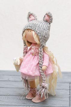 Купить Мышка-малышка! - кремовый, розовый, серый, нежно-розовый, подарок, Декор, предмет интерьера ♡